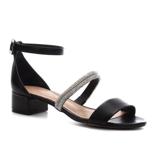 Sandália Couro Shoestock Noiva Tira Malha Strass Feminina - Preto