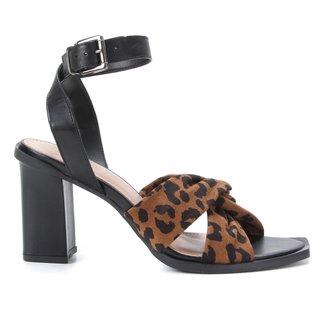 Sandália Couro Shoestock Onça Tiras Entrelaçadas Feminina