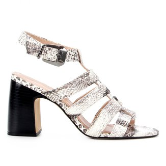 Sandália Couro Shoestock Salomé Salto Bloco Feminina