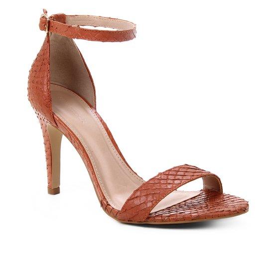 Sandália Couro Shoestock Salto Alto Basic Cobra Feminina - Caramelo