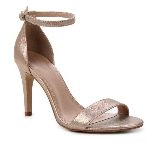 Sandália Couro Shoestock Salto Alto Basic Metalizada Feminina - Rosa