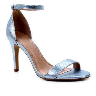 Sandália Couro Shoestock Salto Alto Basic Metalizada Feminina