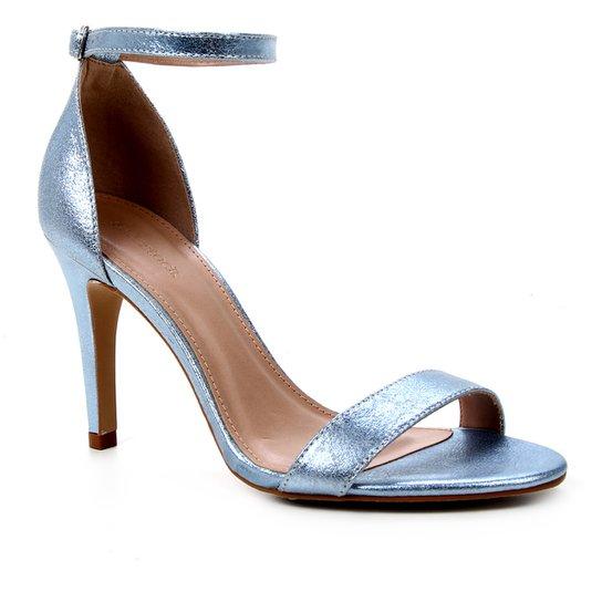 Sandália Couro Shoestock Salto Alto Basic Metalizada Feminina - Azul Claro