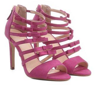 Sandália Couro Shoestock Salto Alto Laços Feminina