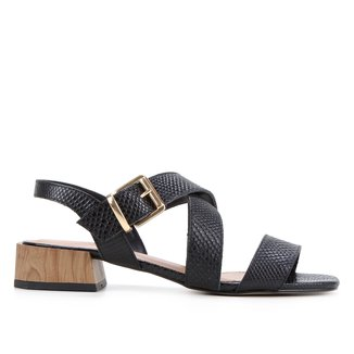 Sandália Couro Shoestock Salto Baixo Cobra Feminina
