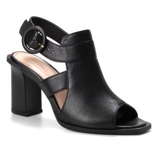 Sandália Couro Shoestock Salto Bloco Alto Fivela Feminina