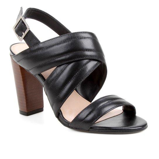 Sandália Couro Shoestock Salto Bloco Alto Soft Feminina - Preto