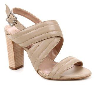 Sandália Couro Shoestock Salto Bloco Alto Soft Feminina