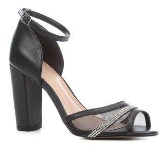 Sandália Couro Shoestock Salto Bloco Alto Tela Strass Feminina