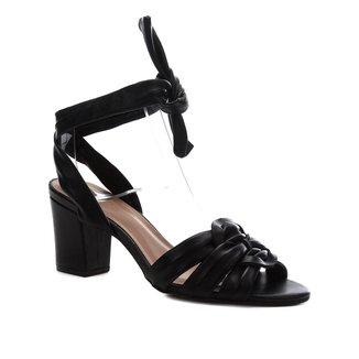 Sandália Couro Shoestock Salto Bloco Amarração Feminina