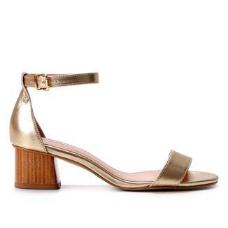 Sandália Couro Shoestock Salto Bloco Baixo Feminina