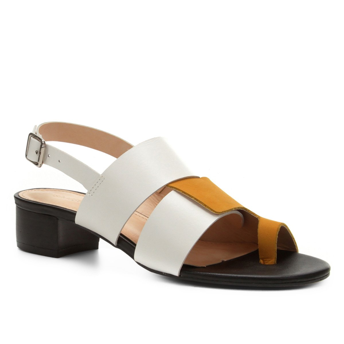 2c23a6834 Sandália Couro Shoestock Salto Bloco Color Mix Feminina - Amarelo |  Shoestock