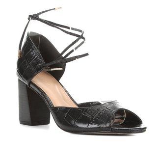 Sandália Couro Shoestock Salto Bloco Croco Feminina