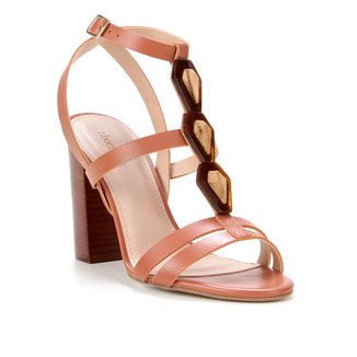 Sandália Couro Shoestock Salto Bloco Enfeite Madeira Feminina
