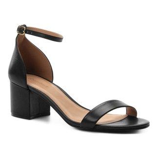 Sandália Couro Shoestock Salto Bloco Feminina