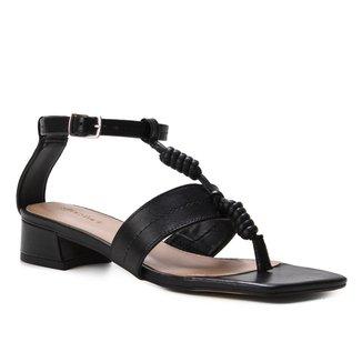 Sandália Couro Shoestock Salto Bloco Pespontos Feminina