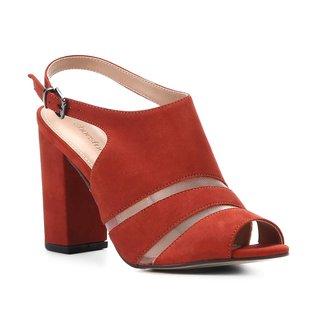Sandália Couro Shoestock Salto Bloco Tela Feminina