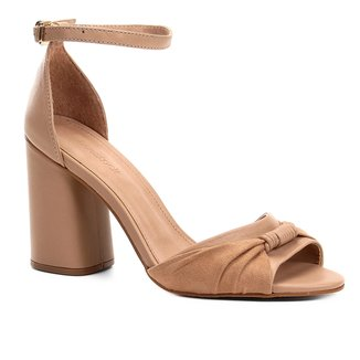 Sandália Couro Shoestock Salto Bloco Tira Feminina