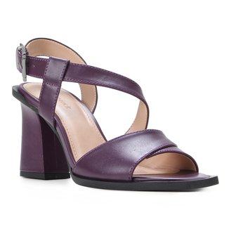 Sandália Couro Shoestock Salto Bloco Tira Transversal Feminina