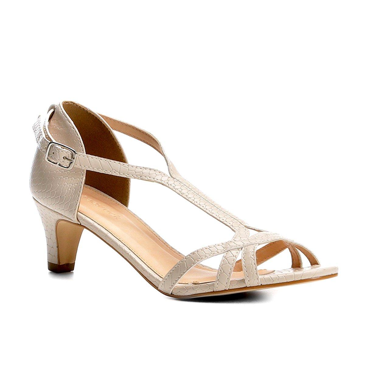 b77f951de534a Sandália Couro Shoestock Salto Cone Cobra Feminina | Shoestock