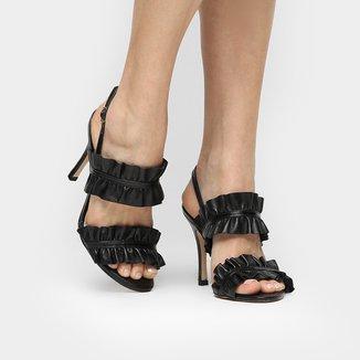 Sandália Couro Shoestock Salto Fino Babado Feminina