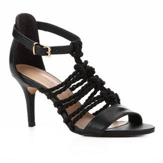 Sandália Couro Shoestock Salto Fino Cordão Feminina