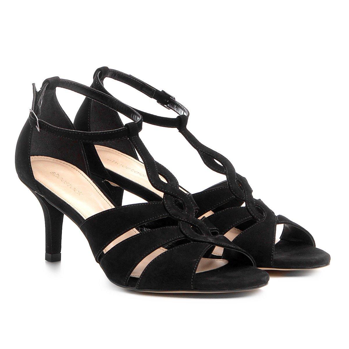 58a634248 Sandália Couro Shoestock Salto Fino Curvas Feminina | Shoestock