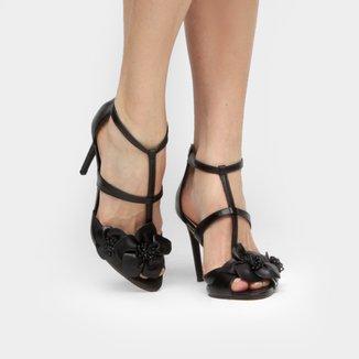Sandália Couro Shoestock Salto Fino Flores