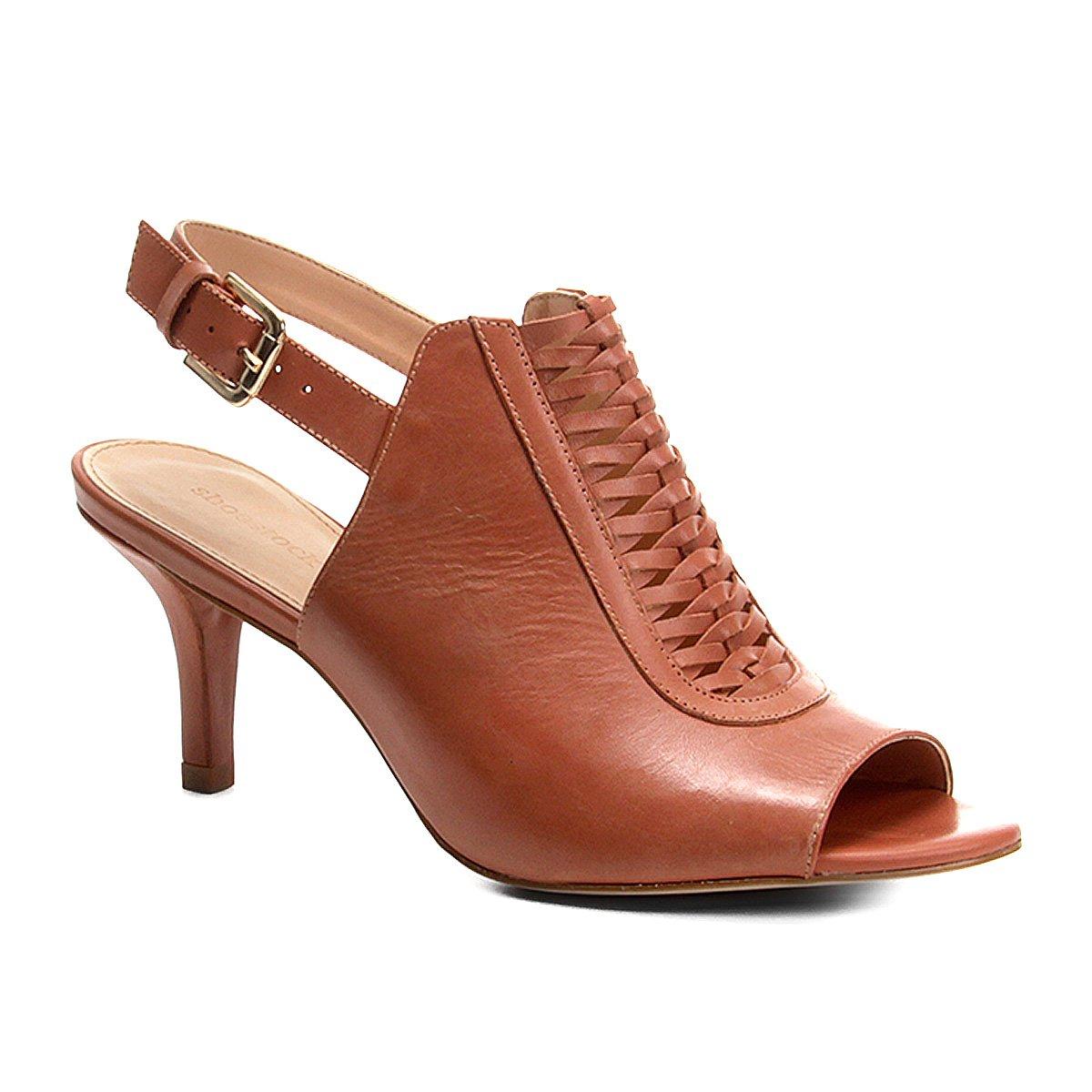 c819411a4452d Sandália Couro Shoestock Salto Fino Handmade Feminina | Shoestock
