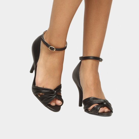 Sandália Couro Shoestock Salto Fino Nó Feminina - Preto