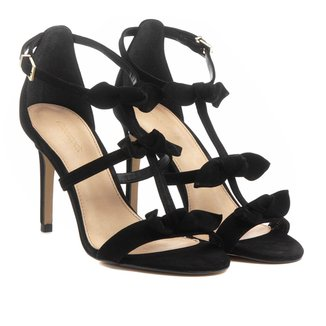 Sandália Couro Shoestock Salto Fino Nós Feminina