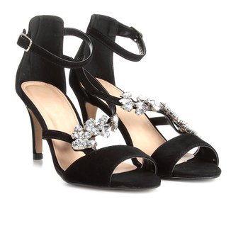 Sandália Couro Shoestock Salto Fino Pedraria Feminina