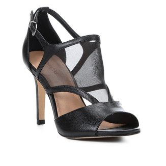 Sandália Couro Shoestock Salto Fino Tela Feminina