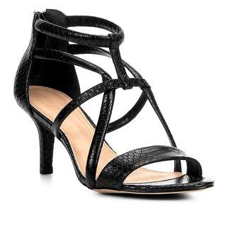 Sandália Couro Shoestock Salto Fino Tiras Cobras Feminina