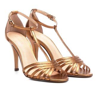 Sandália Couro Shoestock Salto Fino Tiras Feminina