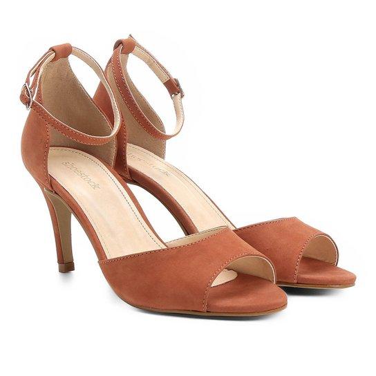 Sandália Couro Shoestock Salto Fino Tornozeleira Feminina - Caramelo