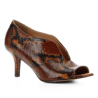 Sandália Couro Shoestock Salto Fino Vamp Snake Feminina