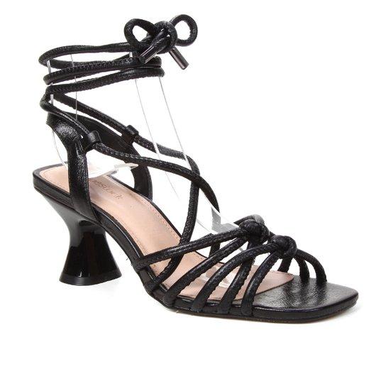 Sandália Couro Shoestock Salto Flare Metalizada Feminina - Preto