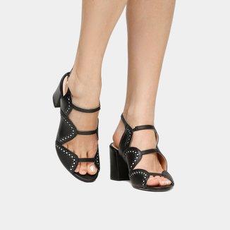 Sandália Couro Shoestock Salto Grosso Brogues Bicolor Feminina