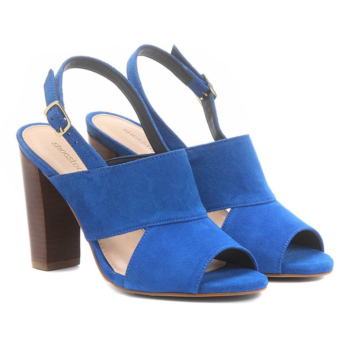 cdb04f9e27 Sandália Couro Shoestock Salto Grosso Camurça Feminina | Shoestock