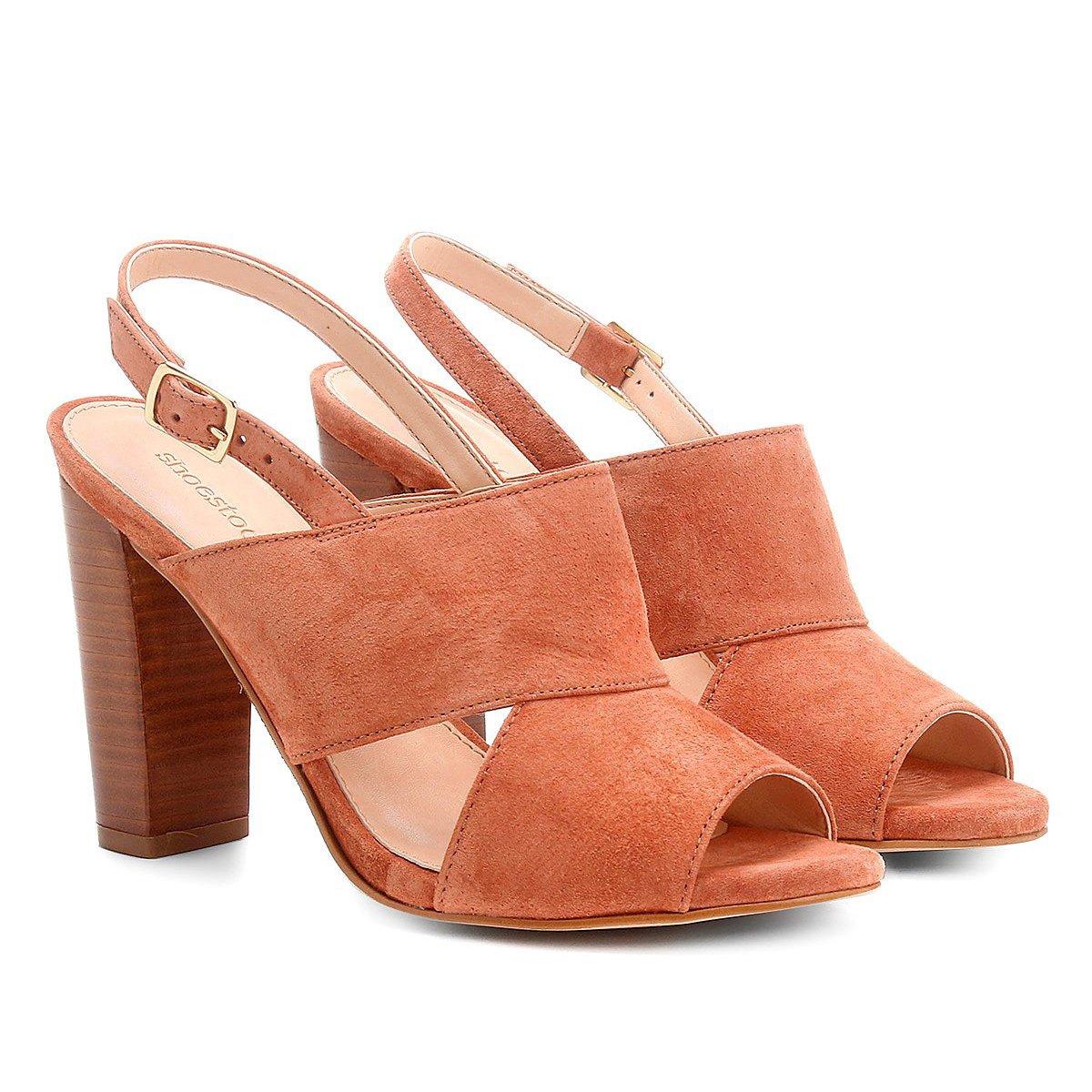 d827442d2a Sandália Couro Shoestock Salto Grosso Camurça Feminina