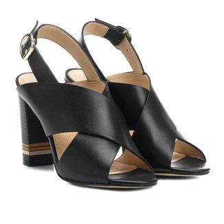 Sandália Couro Shoestock Salto Grosso Fachete Tiras Feminina