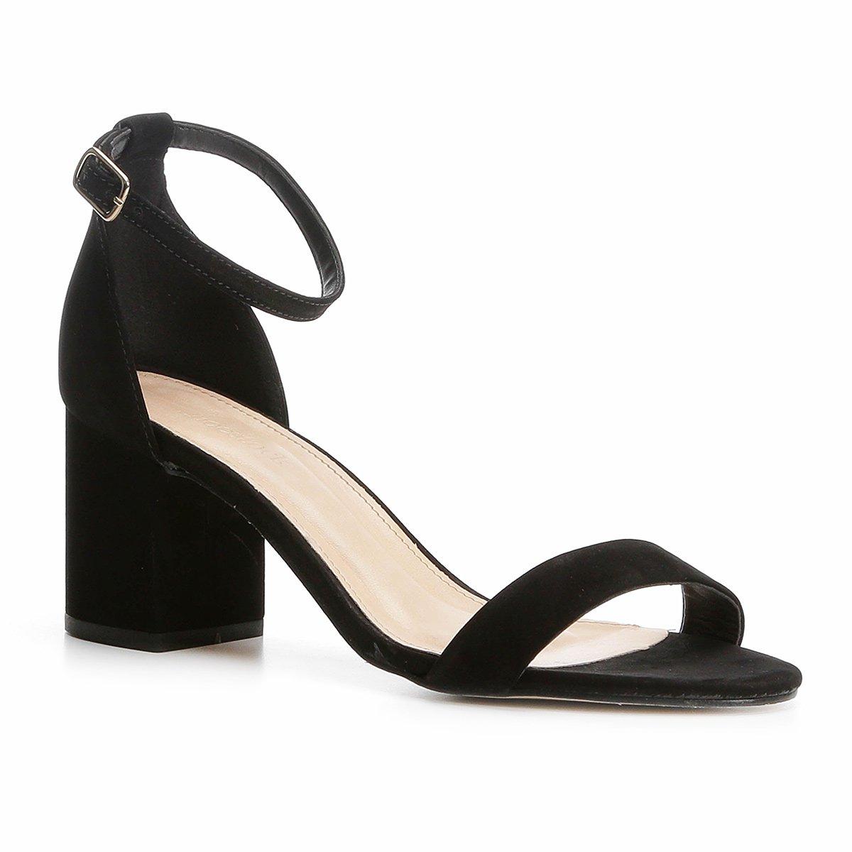 396d0054d Sandália Couro Shoestock Salto Grosso Feminina - Preto | Shoestock