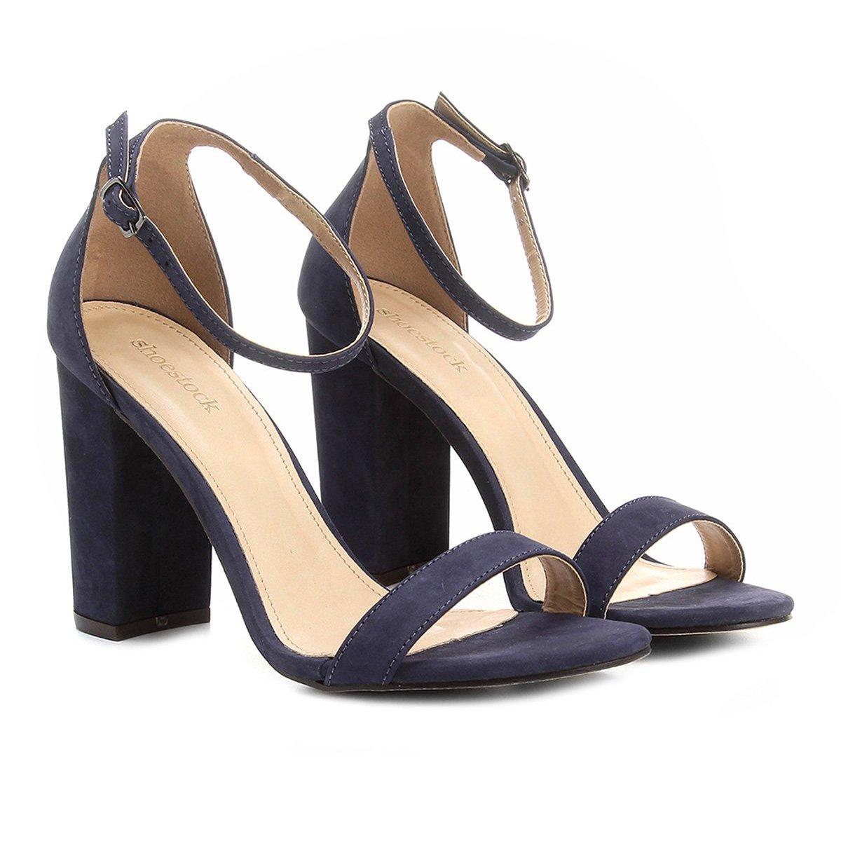 6fa23a0fb3 Sandália Couro Shoestock Salto Grosso Feminina | Shoestock