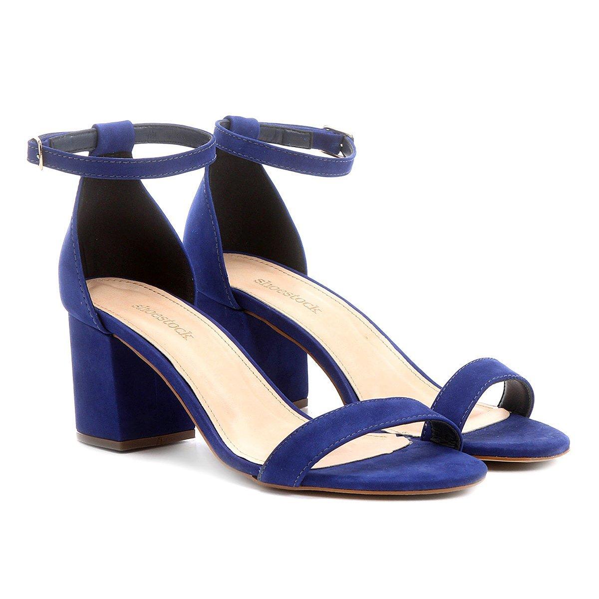 ec524cb086 Sandália Couro Shoestock Salto Grosso Feminina - Azul | Shoestock