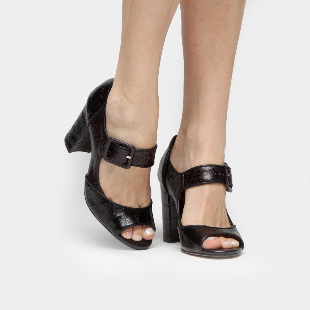 589a7de741 Sandália Couro Shoestock Salto Grosso Mary Jane Feminina