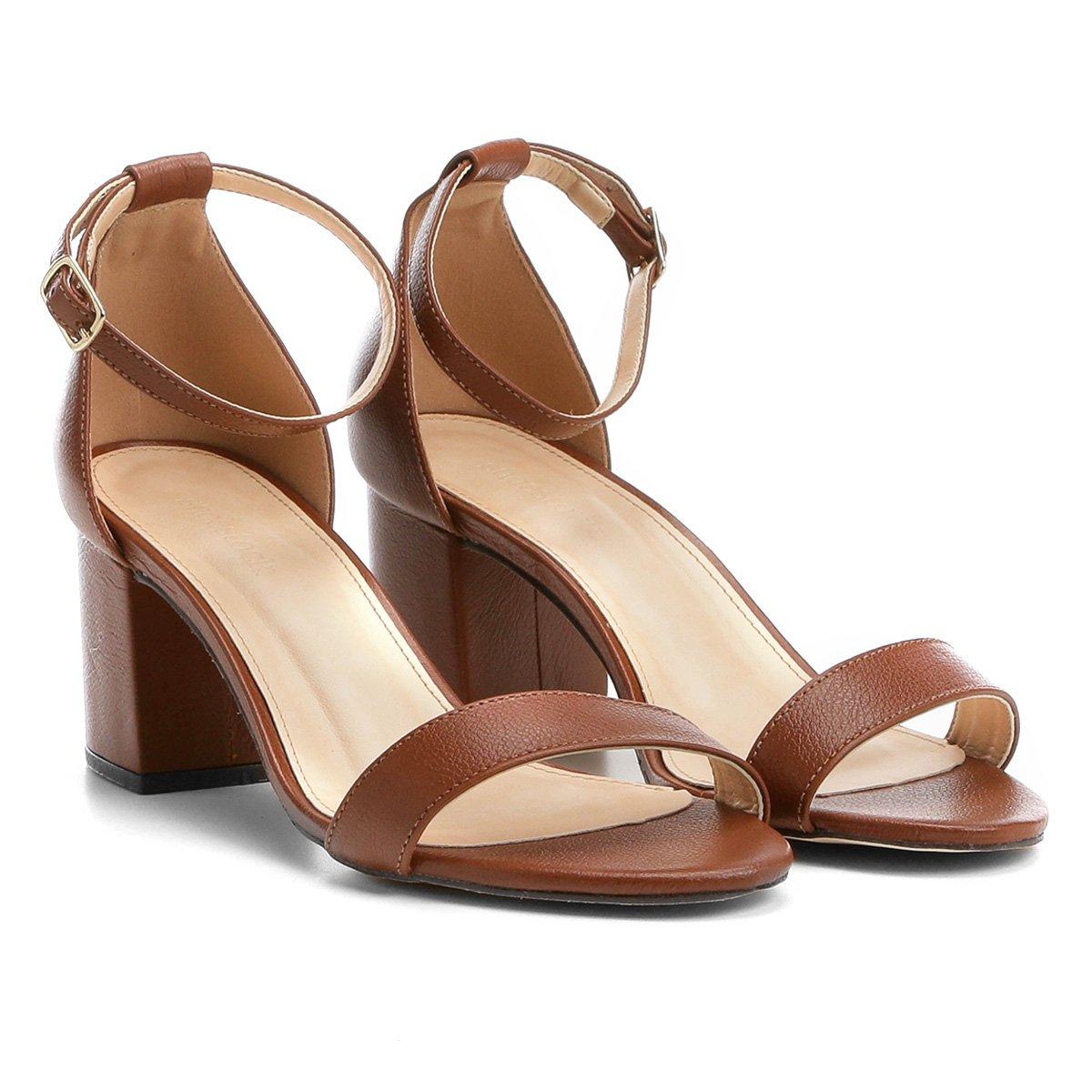 45ba634374 Sandália Couro Shoestock Salto Grosso Naked Feminina