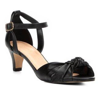 Sandália Couro Shoestock Salto Grosso Nó Feminina