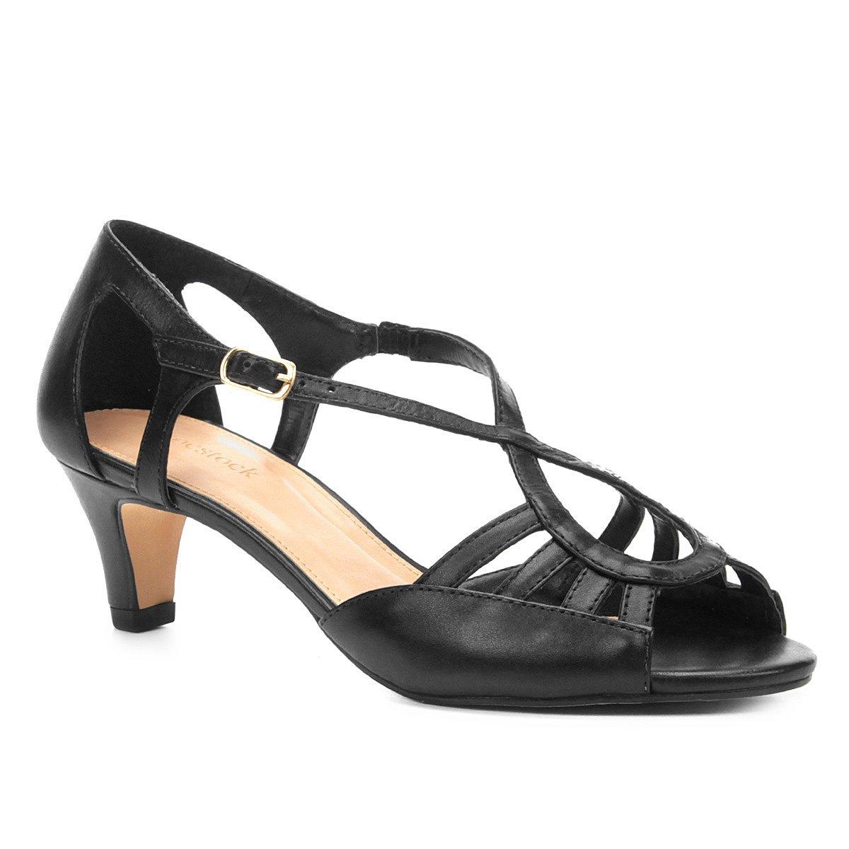 ce18677d82 Sandália Couro Shoestock Salto Grosso Ondas Feminina