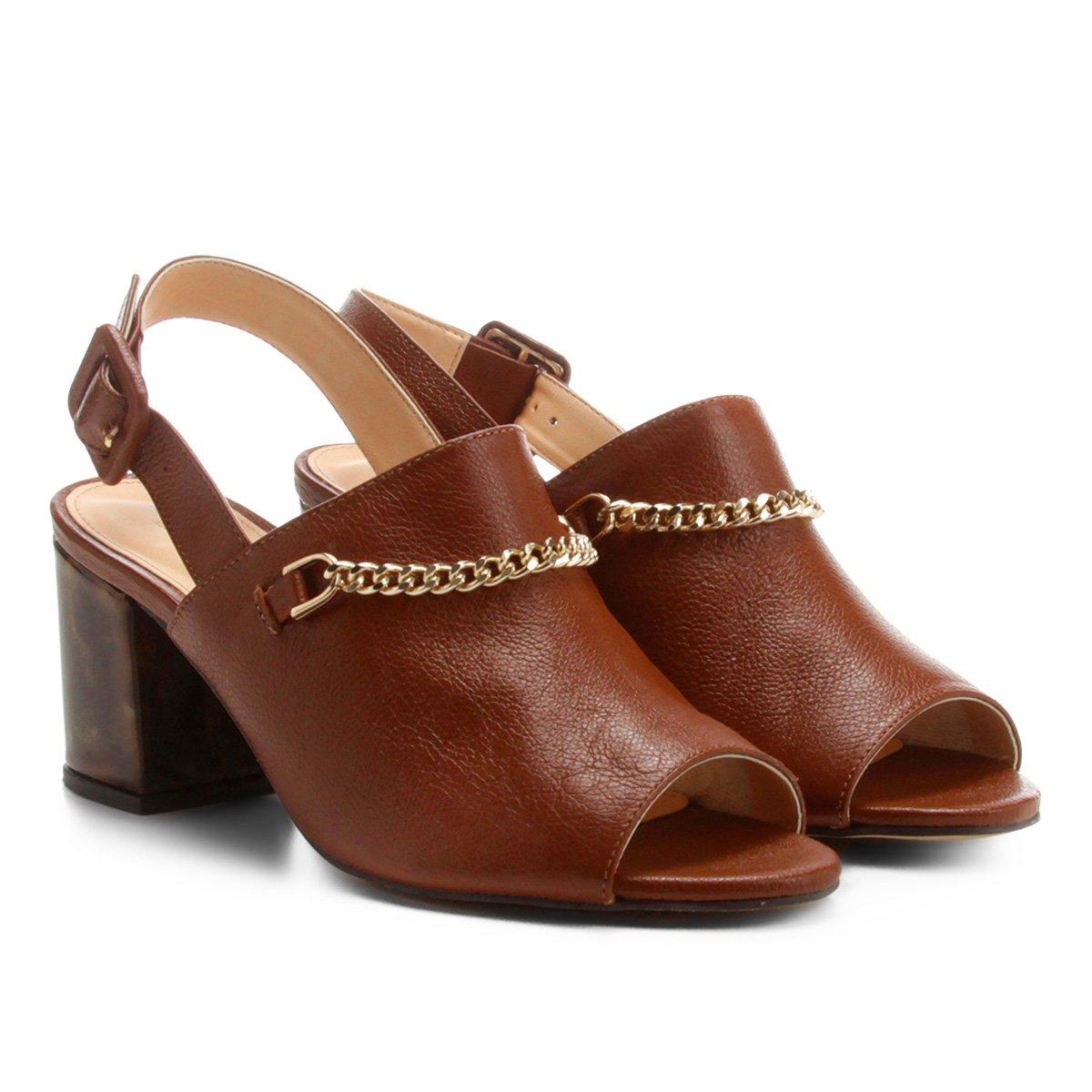 0abaaa9bc0 Sandália Couro Shoestock Salto Grosso Tartaruga Feminina
